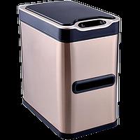 Сенсорное мусорное ведро JAH 7 л прямоугольное розовое золото с внутренним ведром, фото 1