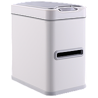Сенсорное мусорное ведро JAH 7 л прямоугольное белое с внутренним ведром, фото 1