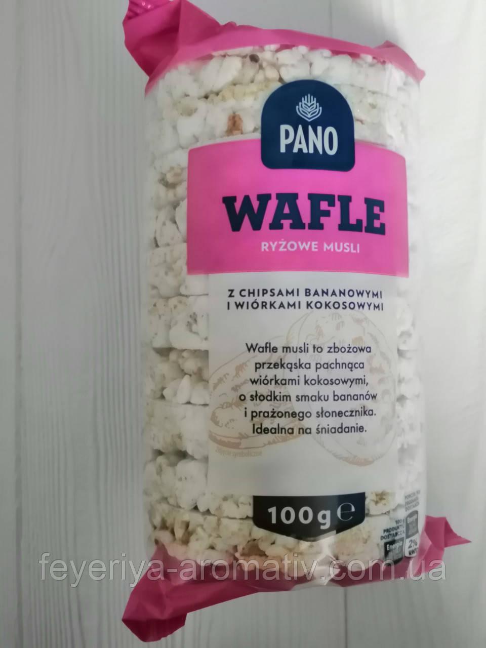 Хлебцы с банановыми чипсами и кокосовыми хлопьями Pano Wafle 100гр (Польша)
