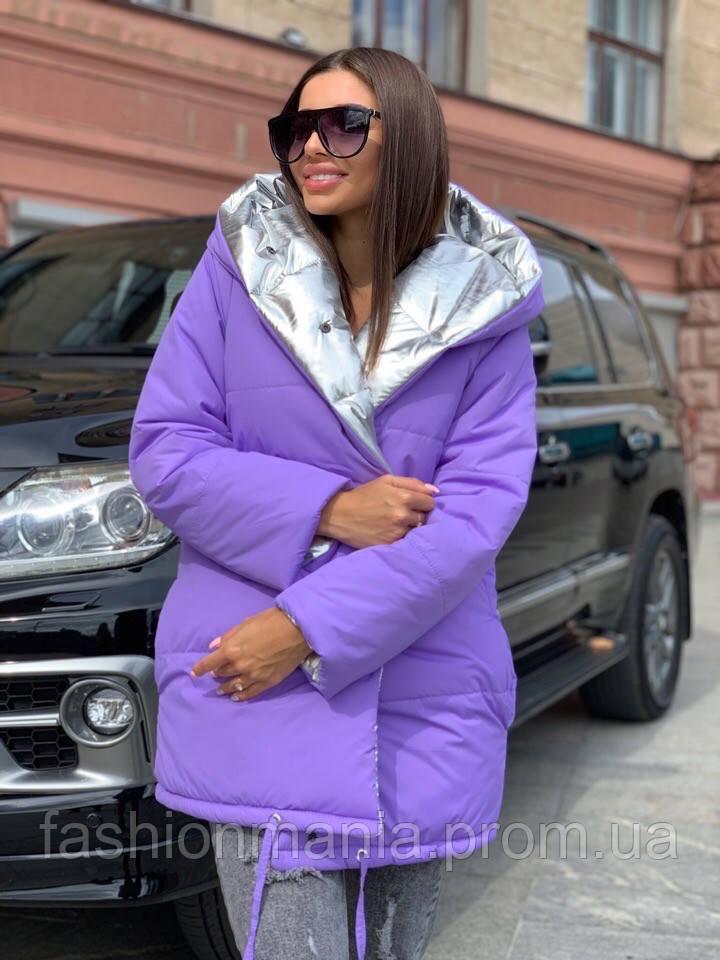 Куртка женская зимняя двусторонняя, двухцветная