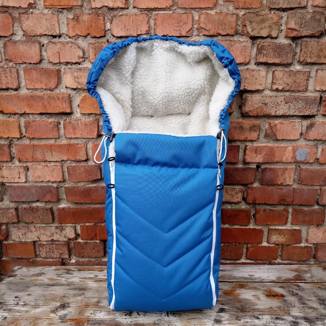 Зимний чехол на овчине в коляску санки черный, прорези для ремней
