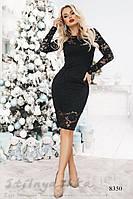 Облегающее гипюровое платье черное, фото 1