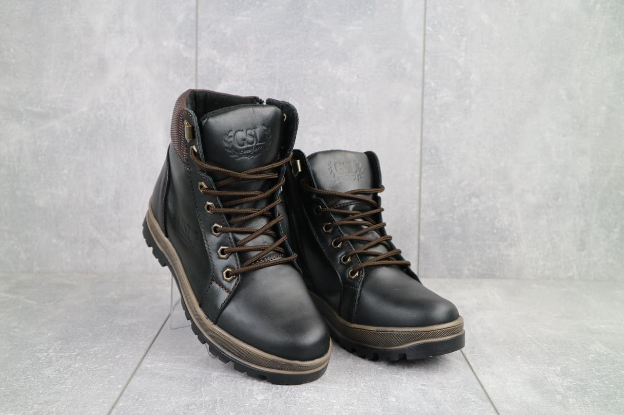 Подростковые ботинки кожаные зимние черные-коричневые GSL 2016