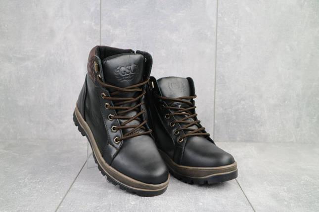 Подростковые ботинки кожаные зимние черные-коричневые GSL 2016, фото 2