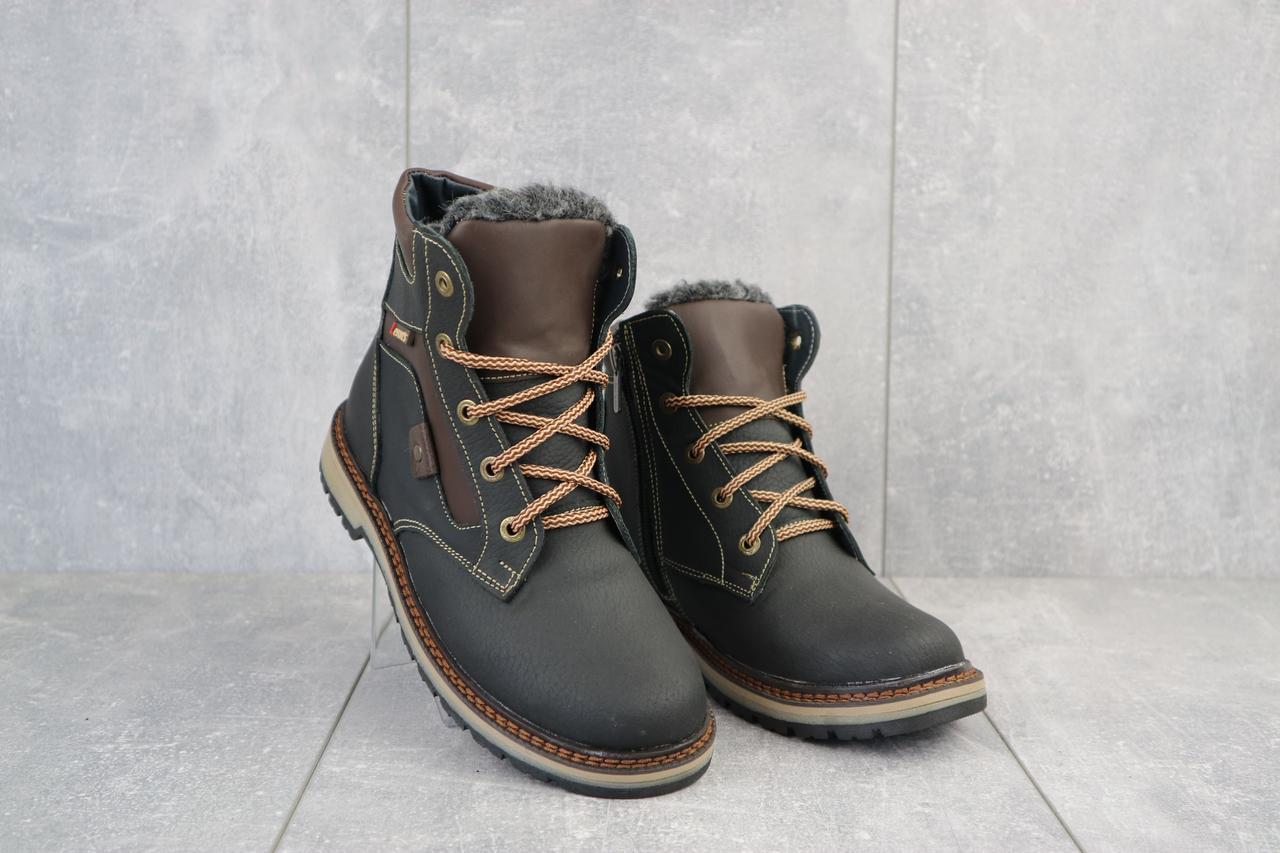 Подростковые ботинки кожаные зимние черные-коричневые Levons 131