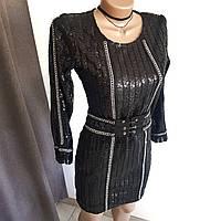 Платье черное в пайетки со съемным поясом