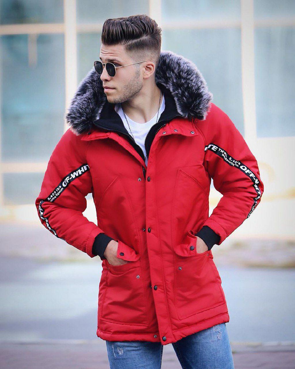 Мужская зимняя парка с мехом красная в стиле Off-White