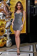 Блестящее короткое платье,серебрококтейльное короткое платье