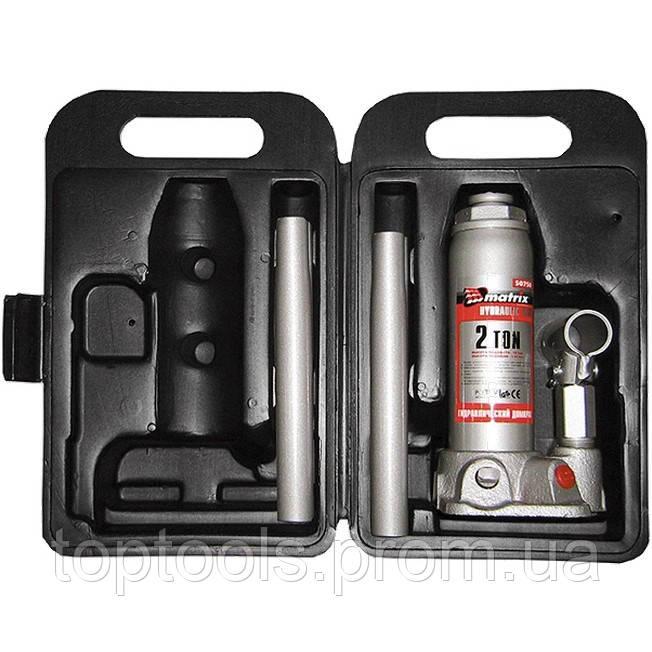 Домкрат гидравлический бутылочный, 2 т, высота подъема 181-345 мм, в пластиковый кейсе MTX Master