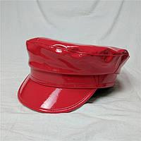 Женский картуз, кепи, фуражка лаковый красный, фото 1