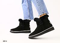 Ботинки УГГИ женские черные из натуральной замши, фото 1