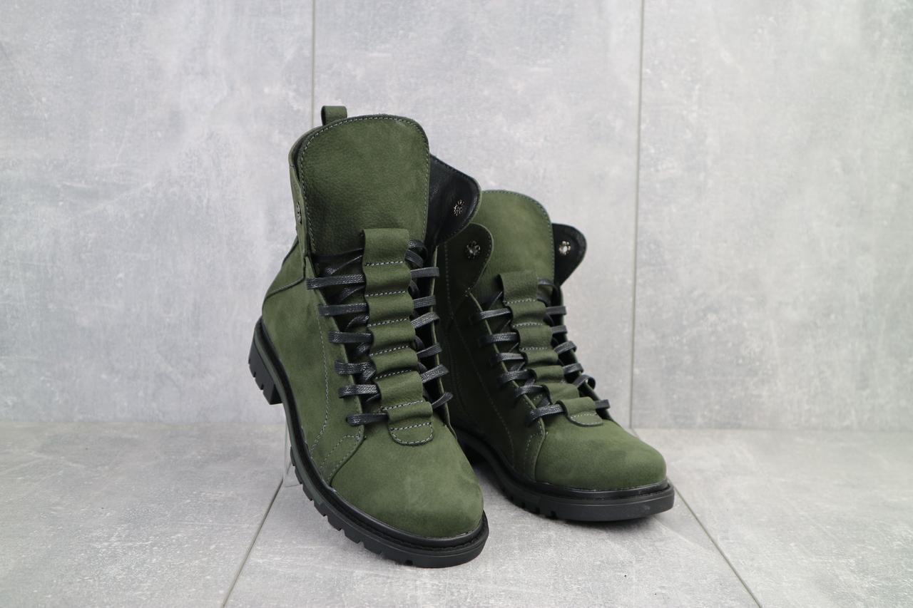 Женские ботинки кожаные зимние зеленые Vikont 7-7-32