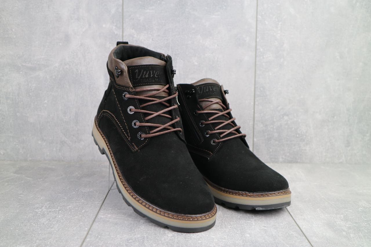 Мужские ботинки замшевые зимние черные Yuves 774