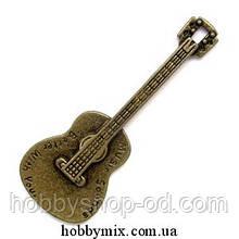 """Метал. подвеска """"гитара"""" бронза ( 2,3х6 см) 1 шт в уп."""