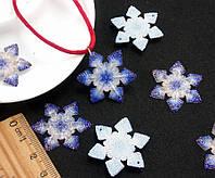 """Кабошоны - подвески Ø30мм """"Снежинка""""  Цена за 1шт Цвет - Бело-синий, фото 1"""