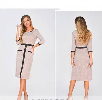 / Размер 42,44,46,48 / Женское повседневное платье из очень мягкой ткани 1874Н-Пудра