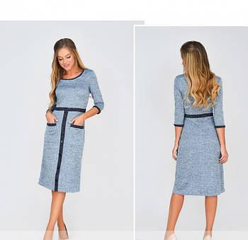 / Размер 42,44,46,48 / Женское повседневное платье из очень мягкой ткани 1874Н-Голубой