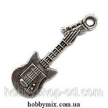 "Метал. подвеска ""гитара"" серебро ( 1х3,2 см) 8 шт в уп."