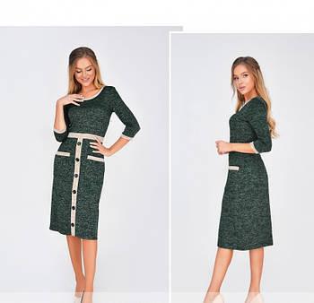/ Размер 42,44,46,48 / Женское повседневное платье из очень мягкой ткани 1874Н-Темно-Зеленый