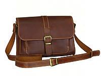 Женская кожаная сумка через плечо GS рыжая