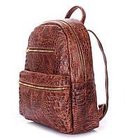 Женский кожаный рюкзак Poolparty Mini Croco Brown (коричневый)