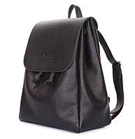 Женский кожаный рюкзак на завязках Poolparty Paris (черный)
