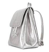 Женский кожаный рюкзак на завязках Poolparty Paris (серебристый)