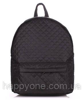Женский стеганый болоньевый рюкзак The One (черный)