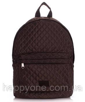 Женский стеганый болоньевый рюкзак The One (коричневый)