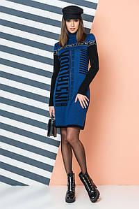 Тепла трикотажна сукня LOOK (джинс, черний, білий)