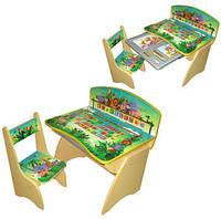 """Детская парта со стулом """"Джунгли"""" регулируемая по высоте от 2 до 10 лет."""