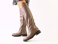 Женские кожаные бежевые сапоги 36