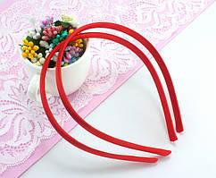 Обруч, ободок для волос обтянутый атласной тканью (9мм ширина) пластик Цвет - Красный