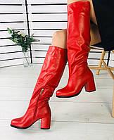 36,38,39 Красивые женские зимние сапоги кожаные на широком среднем каблуке красные G73TR51V