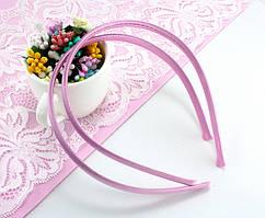 Обруч, ободок для волос обтянутый атласной тканью (9мм ширина) пластик Цвет - Розовый