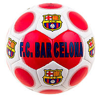 Футбольный мяч БАРСЕЛОНА БАРСА BARCELONA 5 размер для улицы Ручной шовБелый-красный (FCB-3DXN)