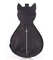 Женский кожаный рюкзак на одно плечо Poolparty Cat (черный)