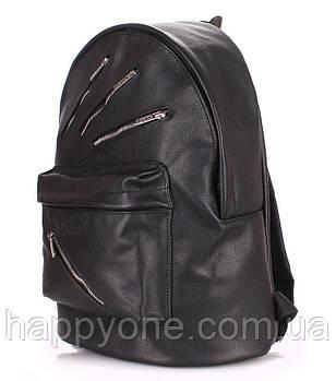 Женский кожаный рюкзак Poolparty Rockstar (черный)