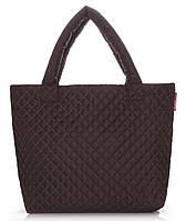Дутая стеганая женская сумка Poolparty (коричневая)