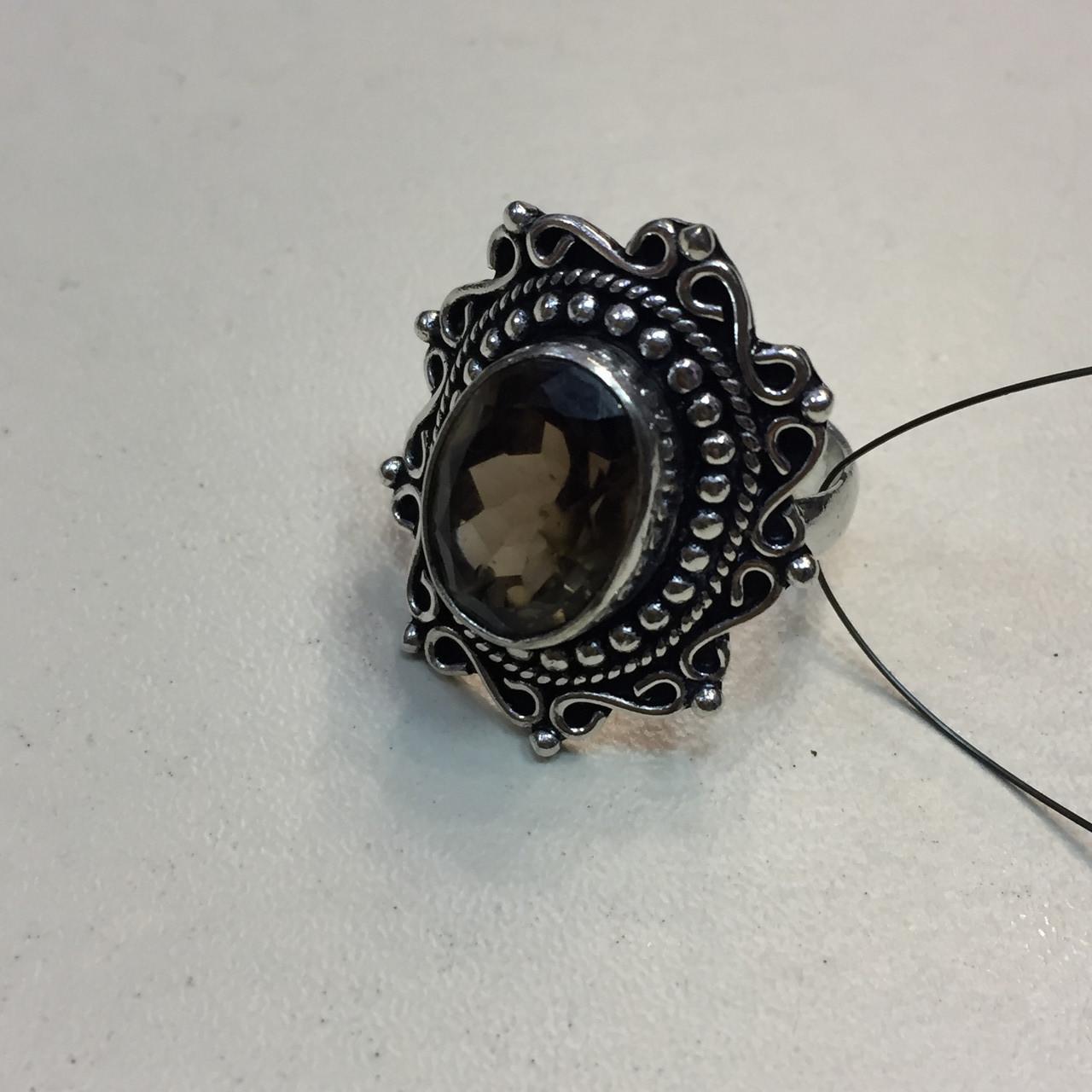 Кольцо с раух-топазом овал дымчатый кварц в серебре 18.5 размер. Кольцо с камнем раух-топаз Индия