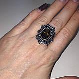 Кольцо с раух-топазом овал дымчатый кварц в серебре 18.5 размер. Кольцо с камнем раух-топаз Индия, фото 2