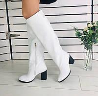 36,37,38,39 женские зимние сапоги кожаные на удобном широком каблуке белые G73TR50-1V