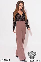 Комбинезон женский с широкими брюками цвета кофе с сеткой