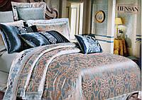 Жаккардовое постельное белье сине-золотого цвета с люкс сатина