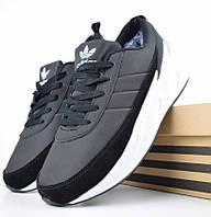 Зимние мужские кроссовки Adidas Shark черные с белым с мехом 41-46рр. Живое фото. Реплика, фото 1