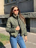 Стильная короткая зимняя женская куртка хаки, фото 1