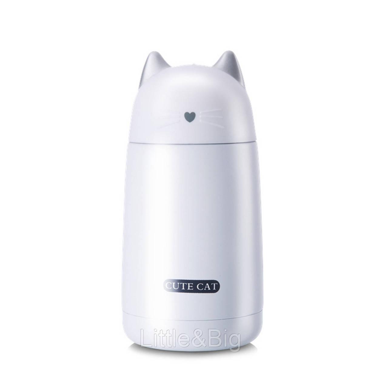 Термос детский, белый. Милый котик. 330 мл.