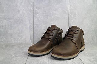 Мужские ботинки кожаные зимние коричневые-матовые Yuves 781, фото 3