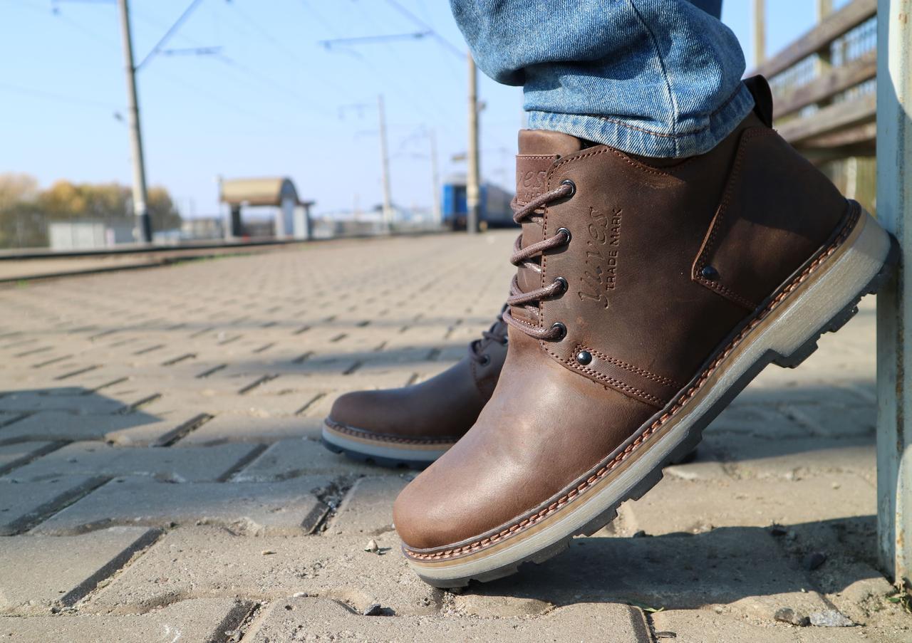 Мужские ботинки кожаные зимние коричневые-матовые Yuves 781