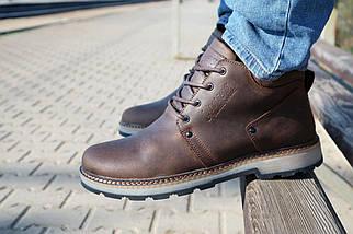 Мужские ботинки кожаные зимние коричневые-матовые Yuves 781, фото 2